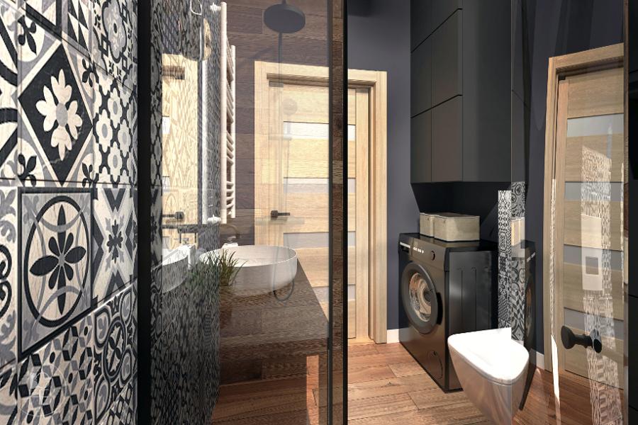 Łazienka w stylu industrialnym, zaprojektowana przy użyciu płytek w stylu patchwork, oraz płytek imitujących drewno
