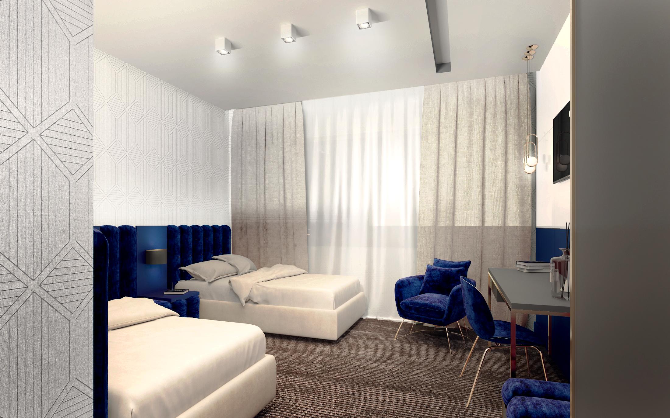 Projekt wnętrza pokoju hotelowego dwuosobowego w hotelu pod warszawą z telewizorem i szafirowymi, tapicerowanymi zagłówkami