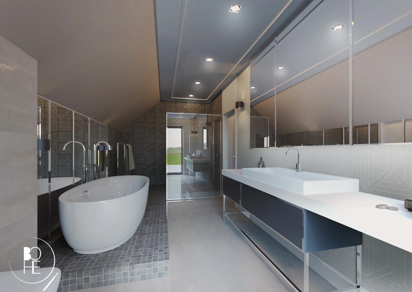 Projekt łazienki w Białymstoku z dużą powierzchnią, wanną, prysznicem oraz toaletką