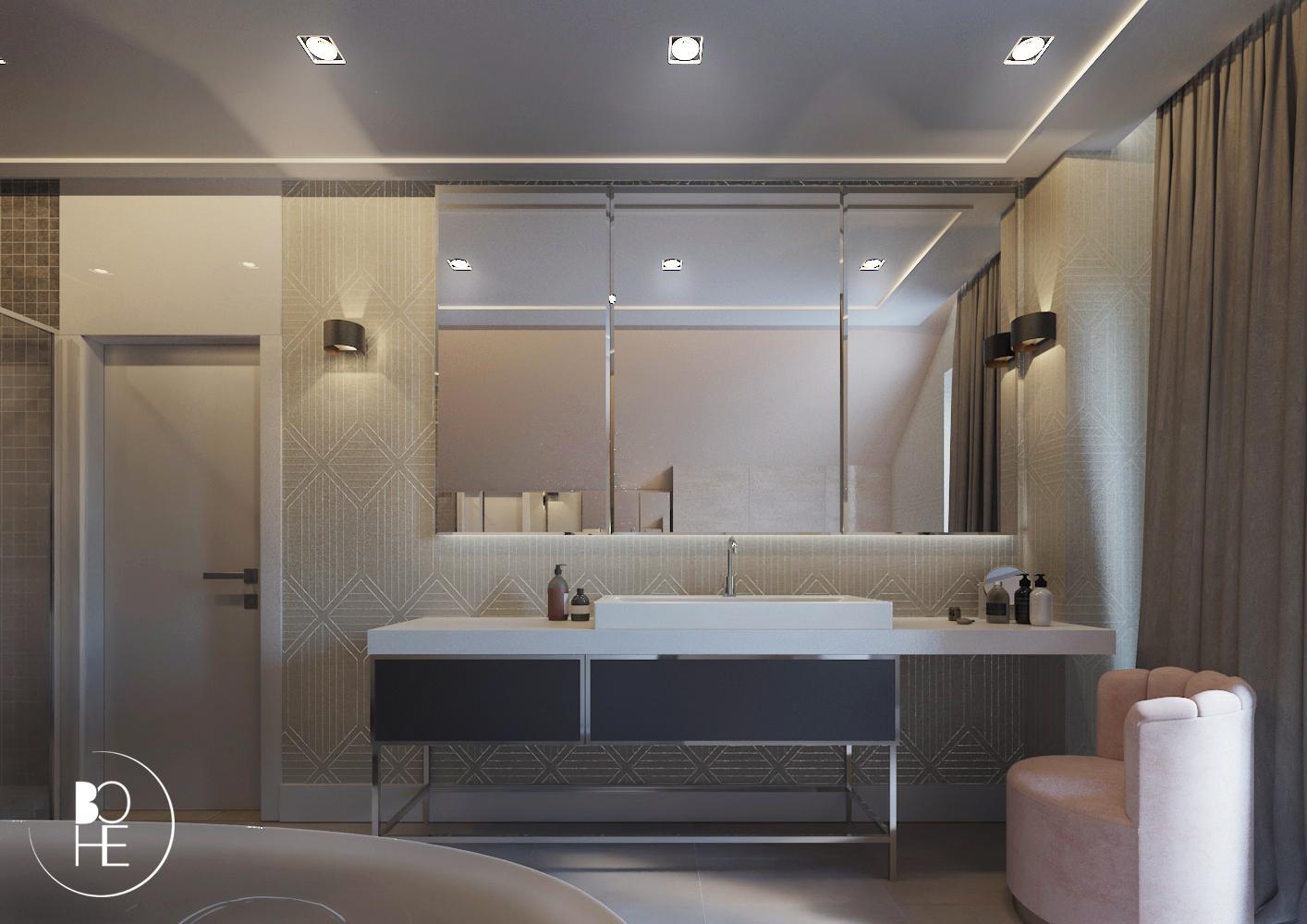 Wizualizacja projektu wnętrza łazienki w Białymstoku z przestrzenią na wannę, prysznic, toaletkę z użyciem luster