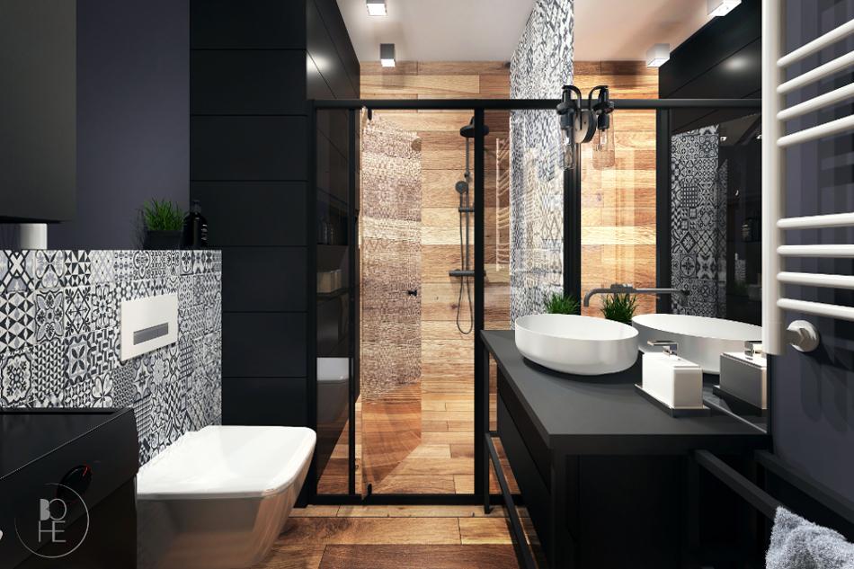 Projekt wnętrza łazienki w stylu industrialnym wykonany w Białymstoku z wykorzystaniem płytek patchworkowych i drewna