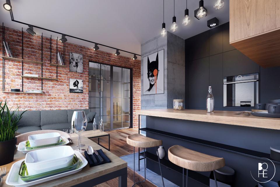 Projekt wnętrz salonu w Białymstoku w stylu loft zaprojektowany przez architekt Anne Skowrońską BOHE architektura