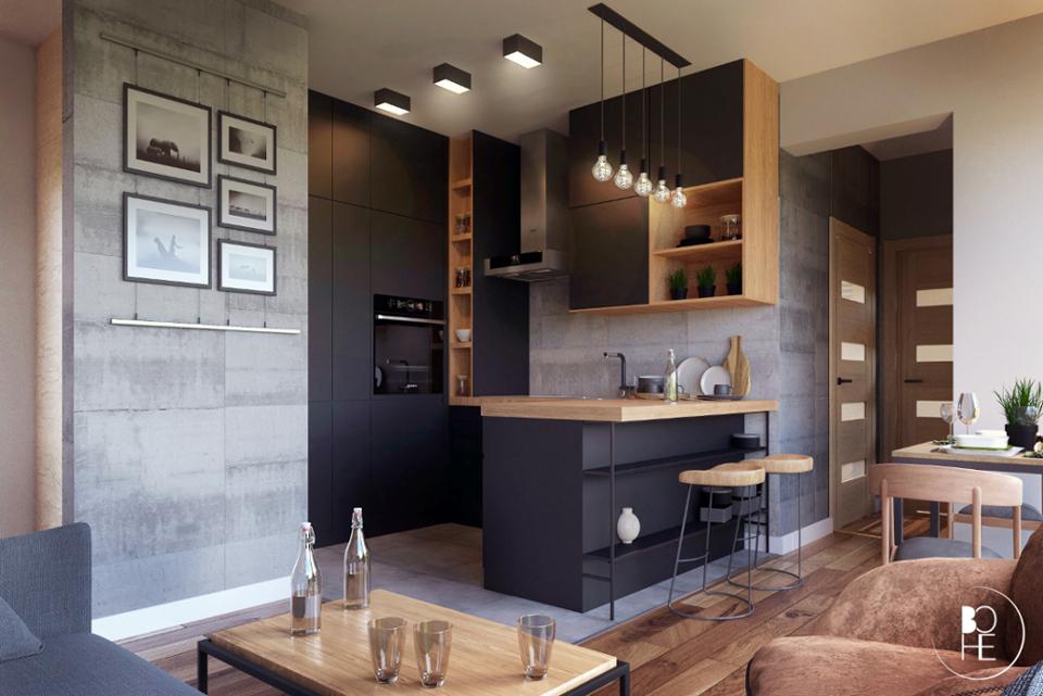Projekt architektoniczny salonu w Białymstoku w stylu loft, przy wykorzystaniu drewna, cegły i betonu architektonicznego