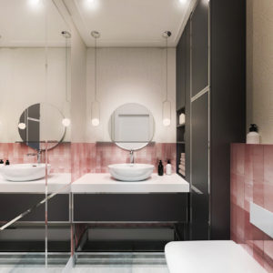 Projekt wnętrza łazienki w Białymstoku z wykorzystaniem czarnej zabudowy i różowych płytek od equipe ceramicas