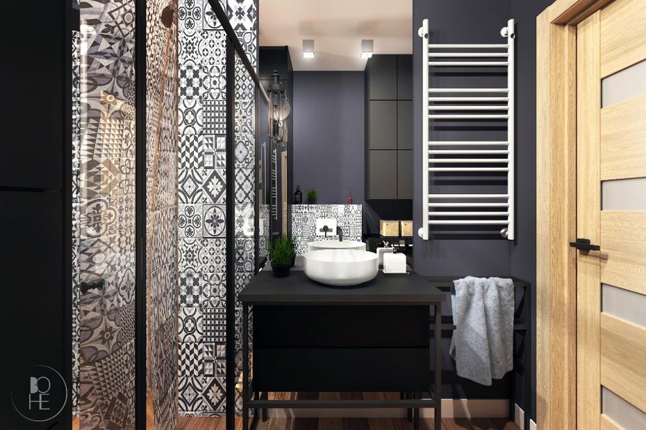 Mała, ciemna łazienka w stylu industrialnym zaprojektowana w Białymstoku, przy wykorzystaniu płytek patchworkowych i drewnianych