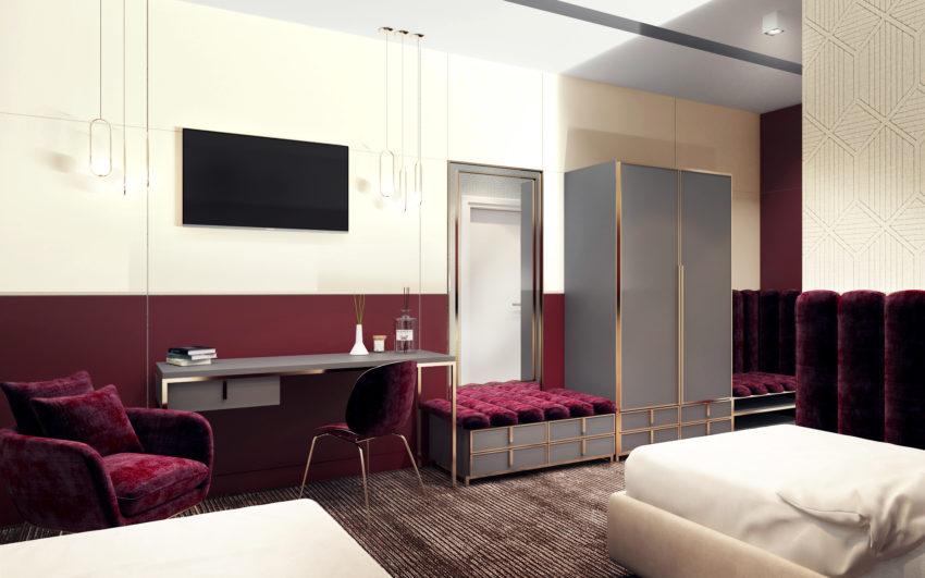 Projekt wnętrza pokoju hotelowego w barwie rubinowej ze złotymi wykończeniami, telewizorem i białymi ścianami