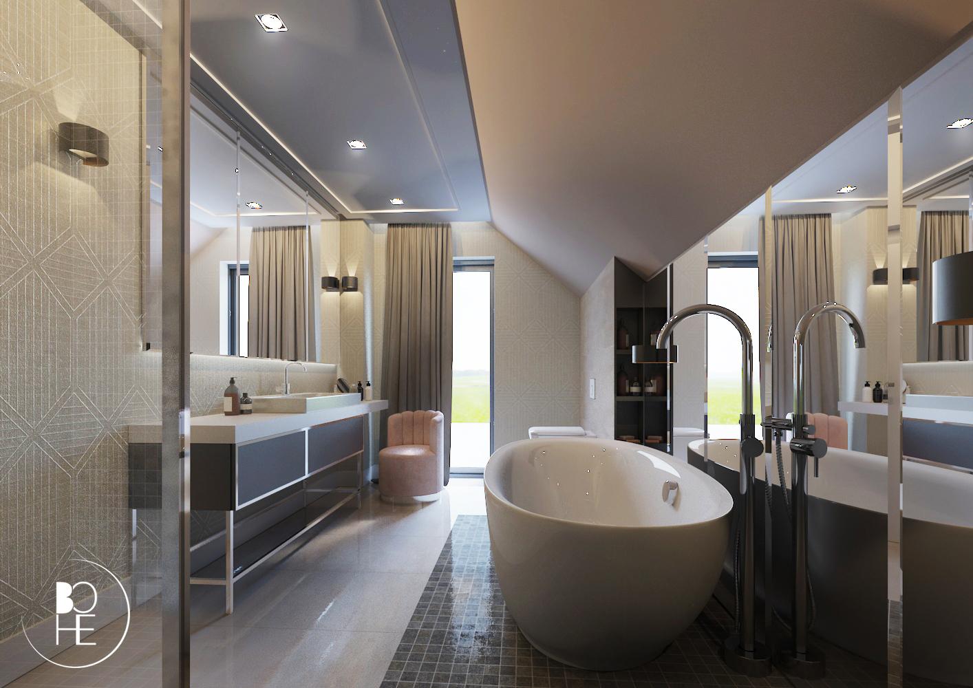 Projekt wnętrza łazienki w Białymstoku z toaletką i WC, z dużymi lustrami i ściennym stelażem