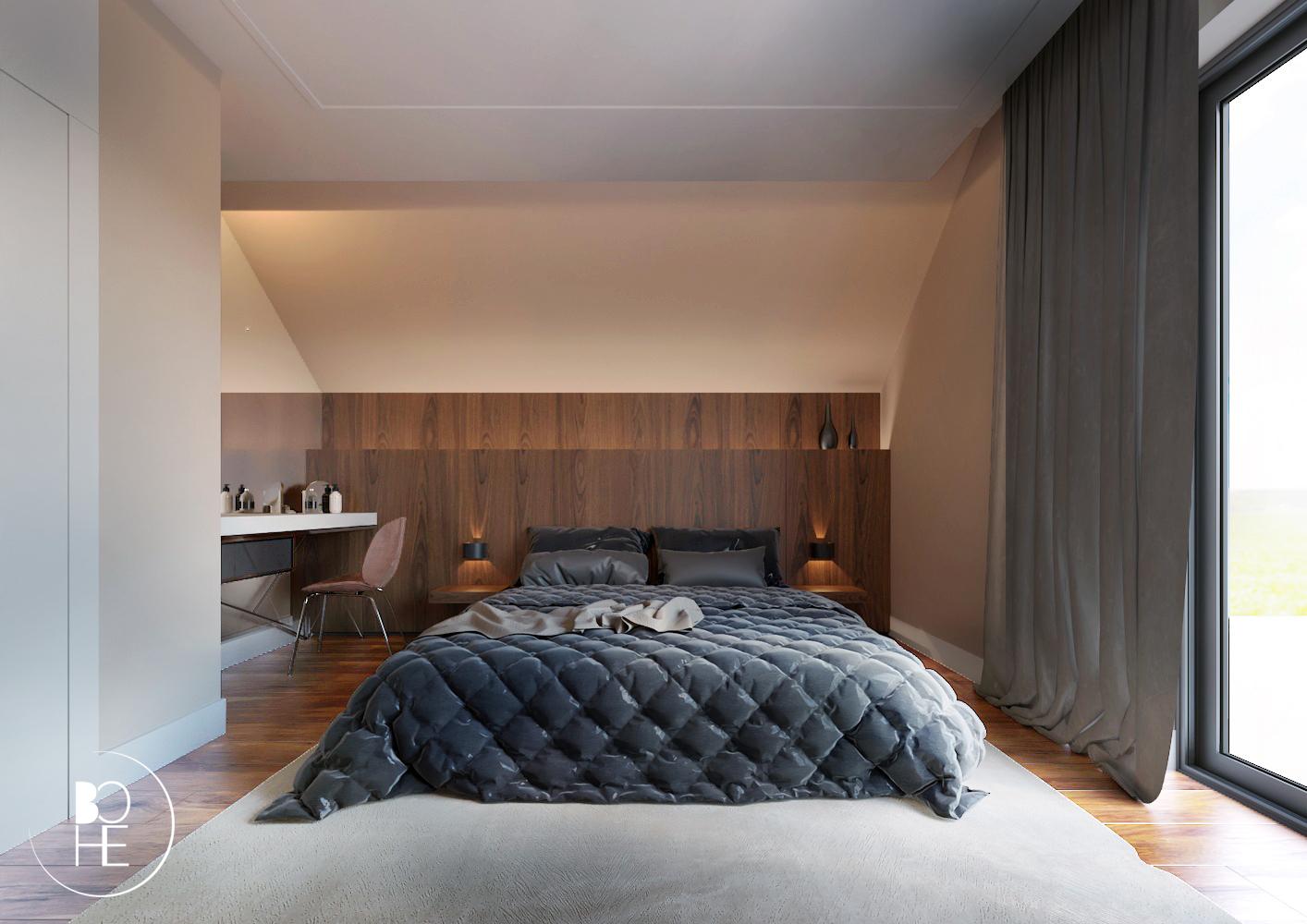 Projekt wnętrza w Białymstoku, duża sypialnia z łożem małżeńskim, garderobą i toaletką