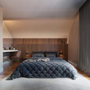 Projekt sypialni domu jednorodzinnego w Białymstoku z dużym łóżkiem małżeńskim z miejscem na toaletkę