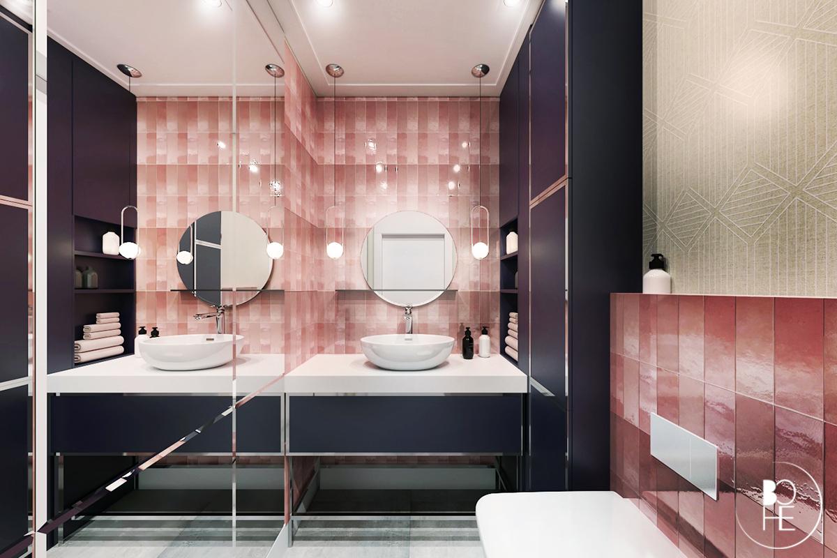 Koncepcja toalety w domu w Białymstoku wykorzystująca różowe płytki equipe ceramicas z podtynkowym stelażem WC