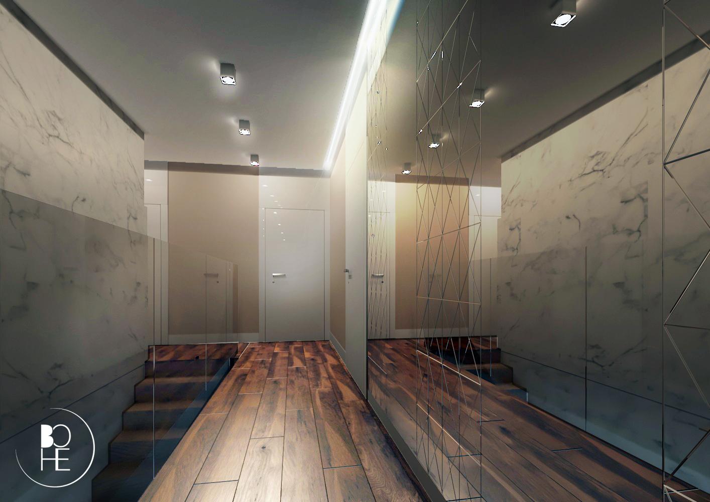 Projekt korytarza na pierwszym piętrze domu jednorodzinnego w Białymstoku z drewnianą podłogą i frezowanymi lustrami
