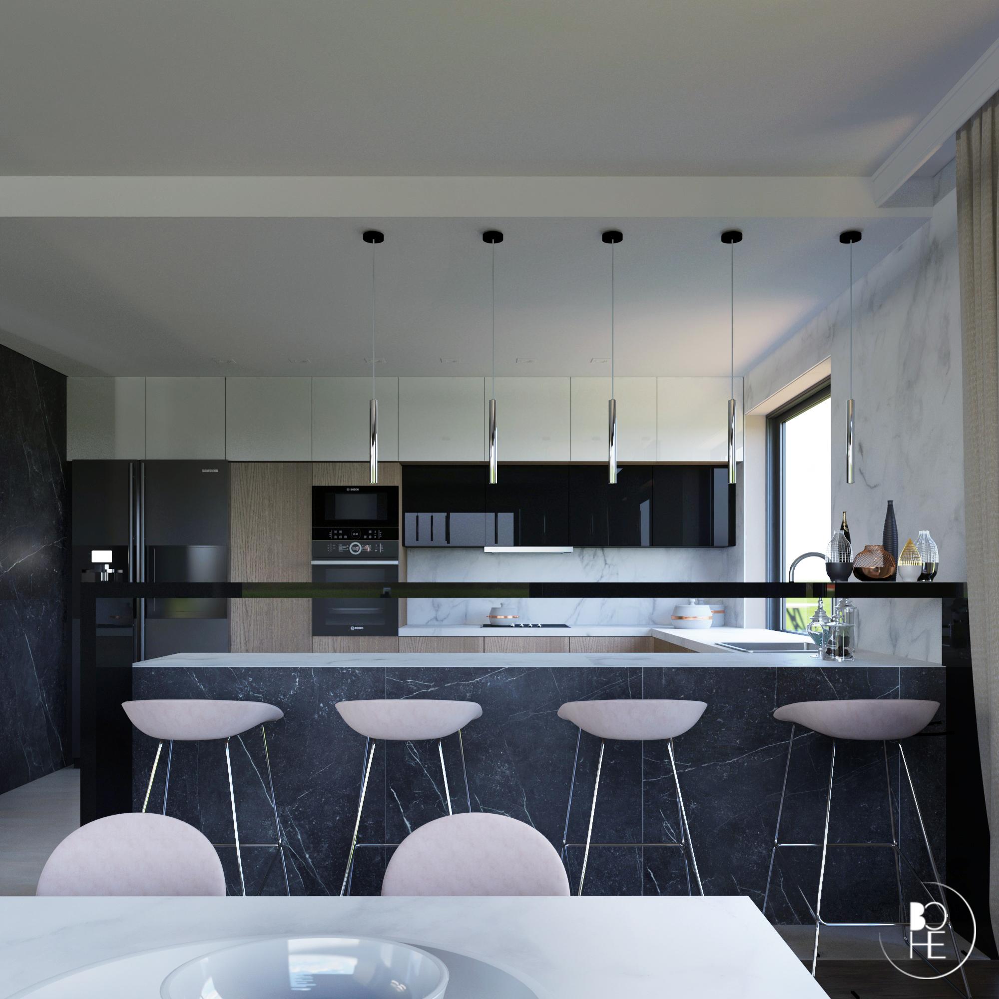 Wizualizacja projektu wnętrza dużej kuchni, z dwudrzwiową lodówką i z dużym obszarem roboczym
