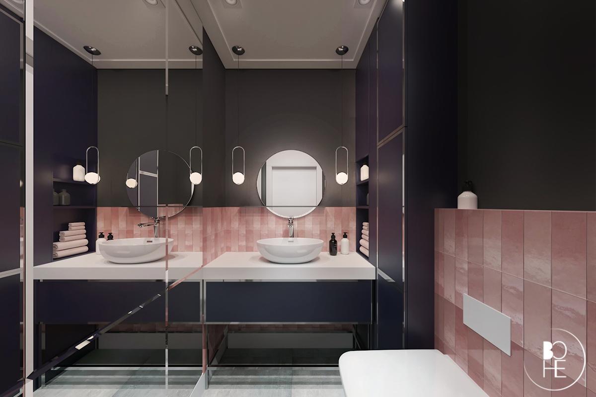 Projekt małej toalety w domu w Białymstoku w czerni i różowych płytkach od equipe ceramicas