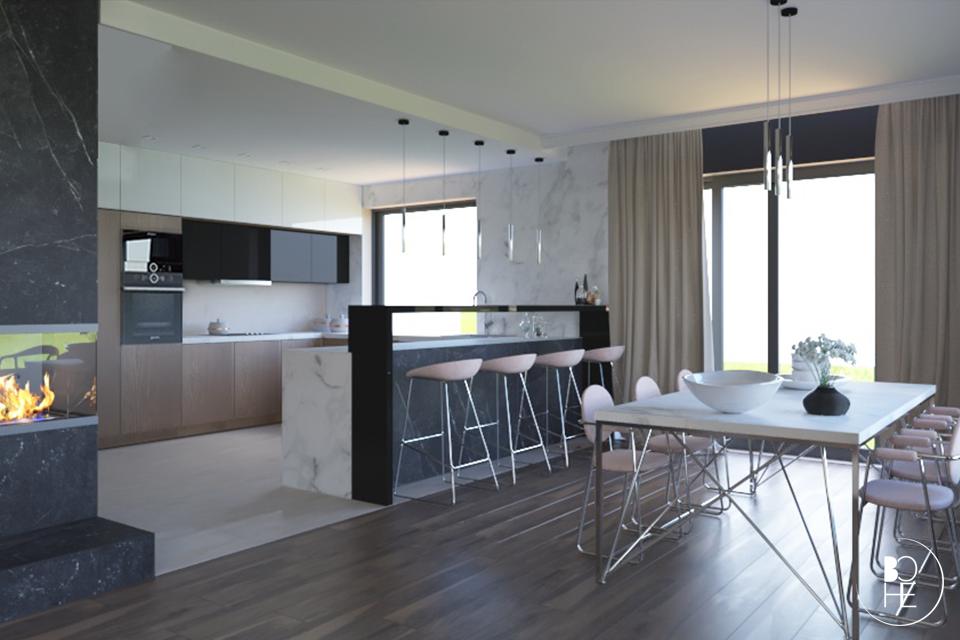 Projekt wnętrza jadalni z dużym, rodzinnym stołem oraz z otwartym widokiem na dużą kuchnię, a miejscem kominek