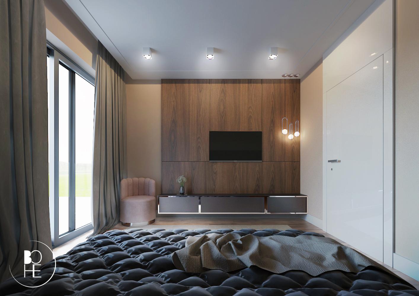Projekt wnętrza sypialni małżeńskie w domu jednorodzinnym w Białymstoku ze ścianką na telewizor