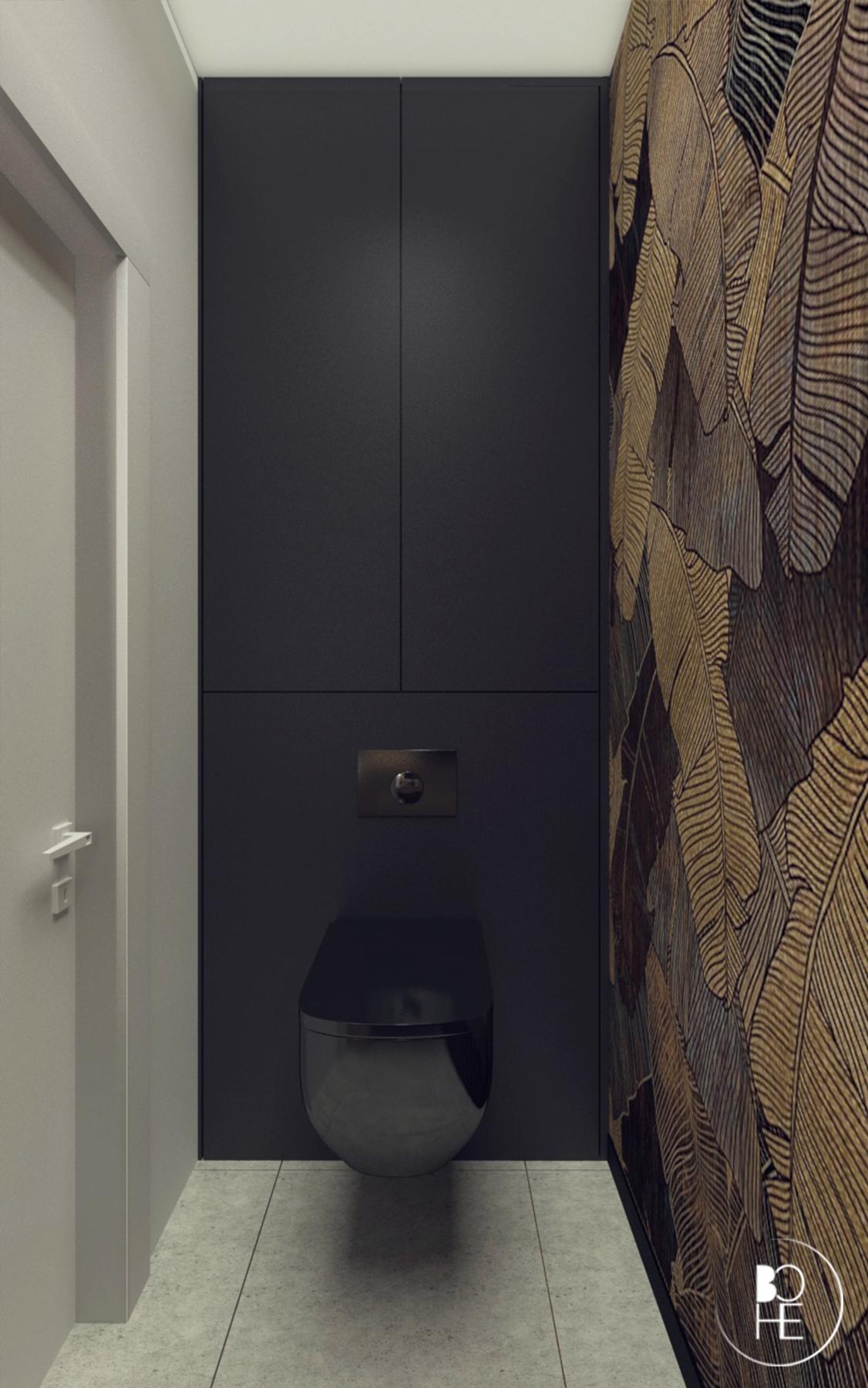 Toaleta z czarnym sedesem z wykorzystaniem szarych płytek i tapety shine