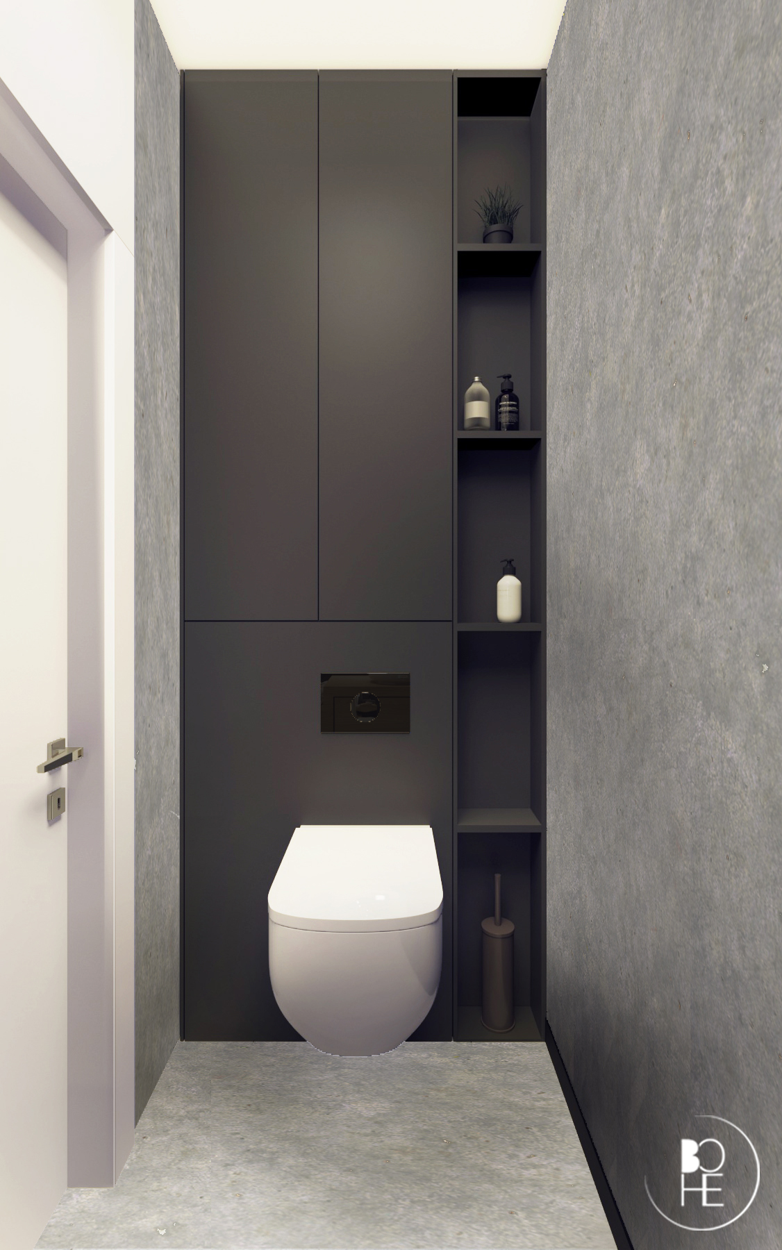 projekt wnętrza toalety w warszawie z białym sedesem z mikrocementem