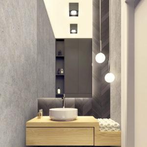 Wnętrze toalety w domu w Warszawie w ciemnych barwach z płytkami od Mutina ceramics