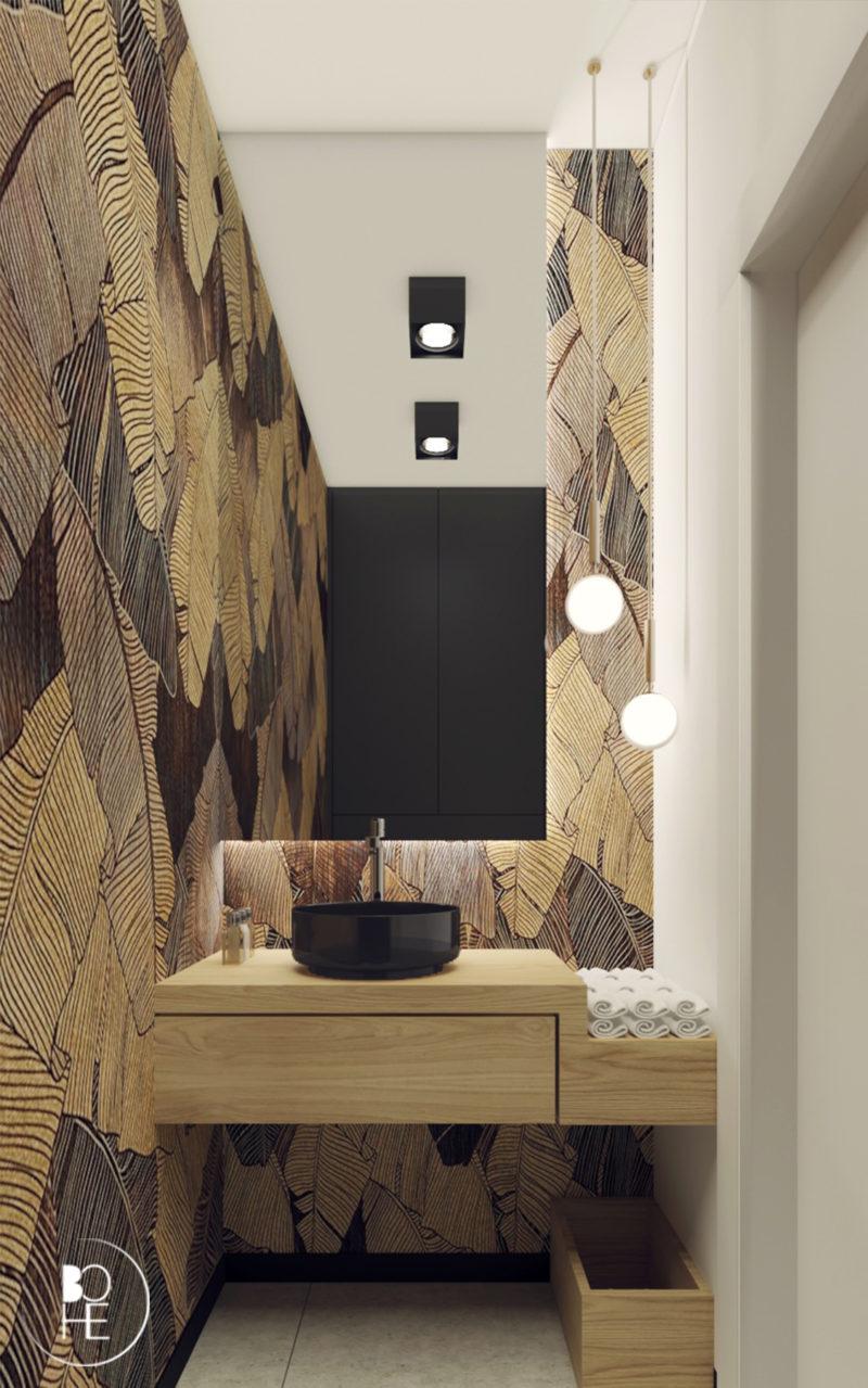 Projekt wnętrza toalety w Warszawie z wykorzystaniem tapety shine od firmy Wonderwall-studio