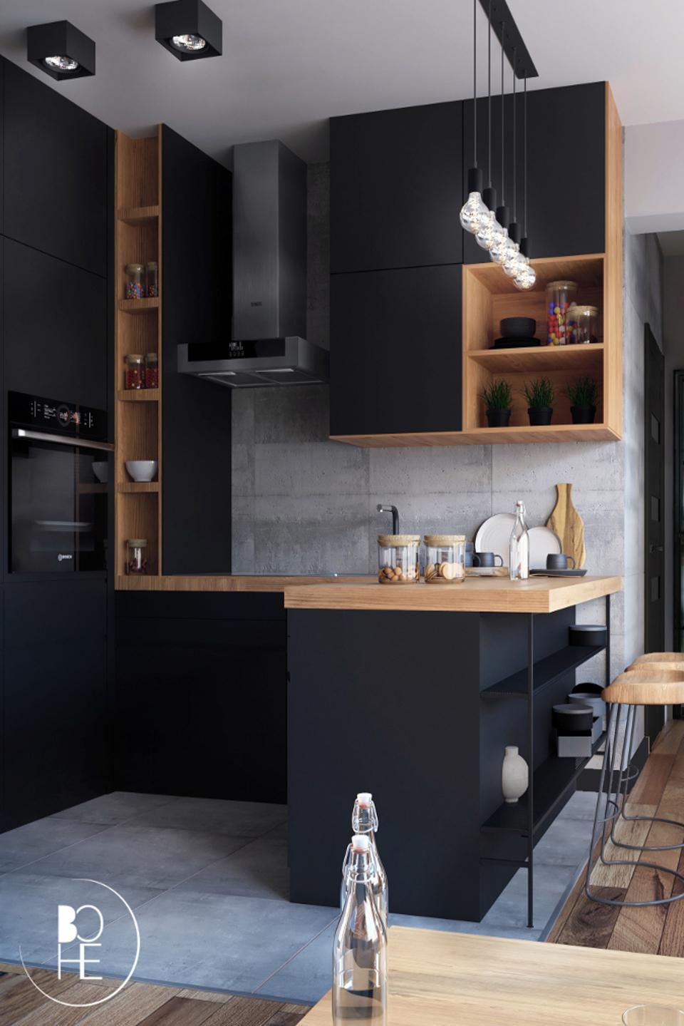 Projekt wnętrza kuchni w Białymstoku w stylu loftowym zaprojektowany przez Annę Skowrońską z BOHE architektura
