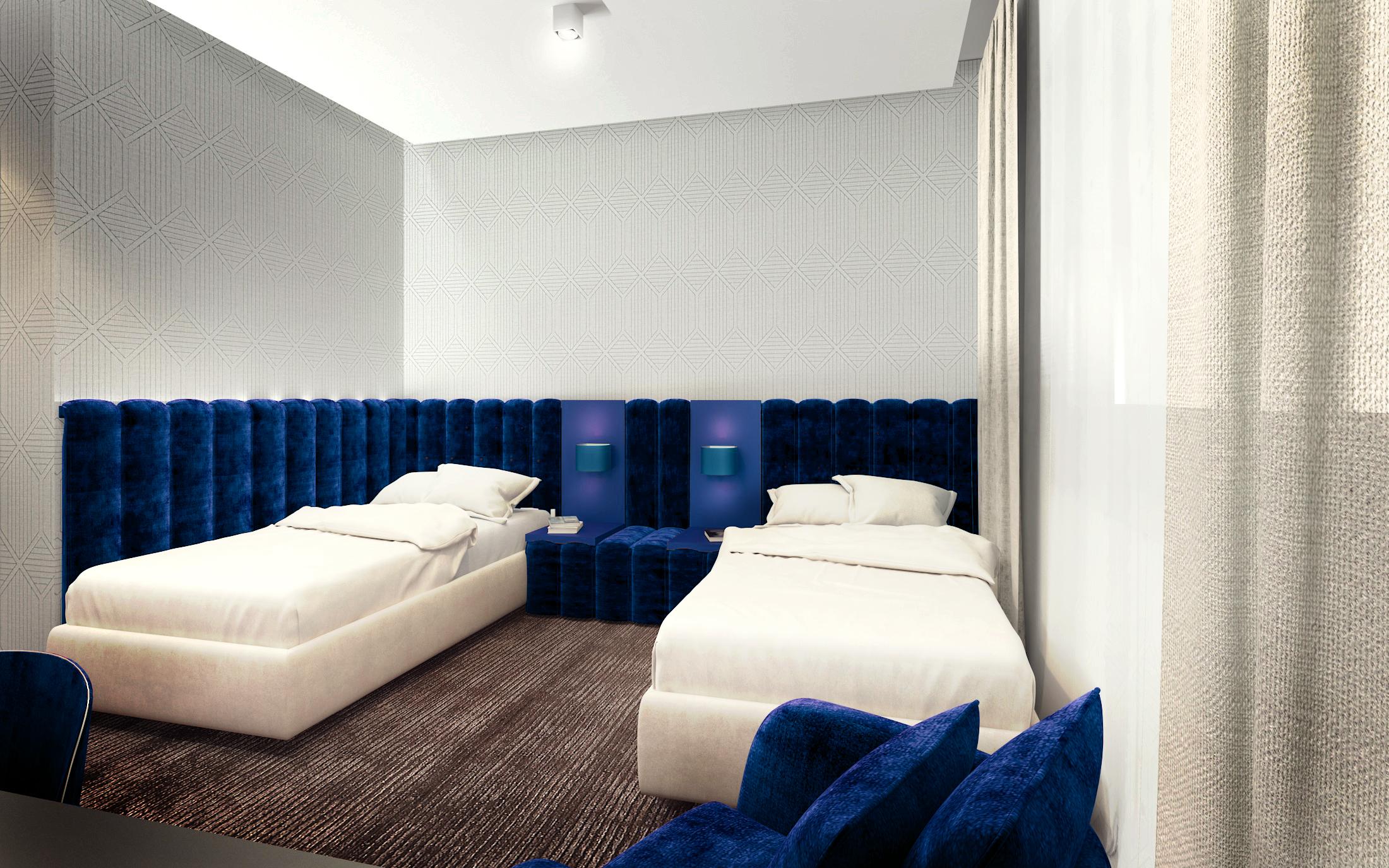 Projekt szafirowego pokoju hotelowego z dwoma łóżkami i tapicerowanymi zagłówkami z białymi ścianami
