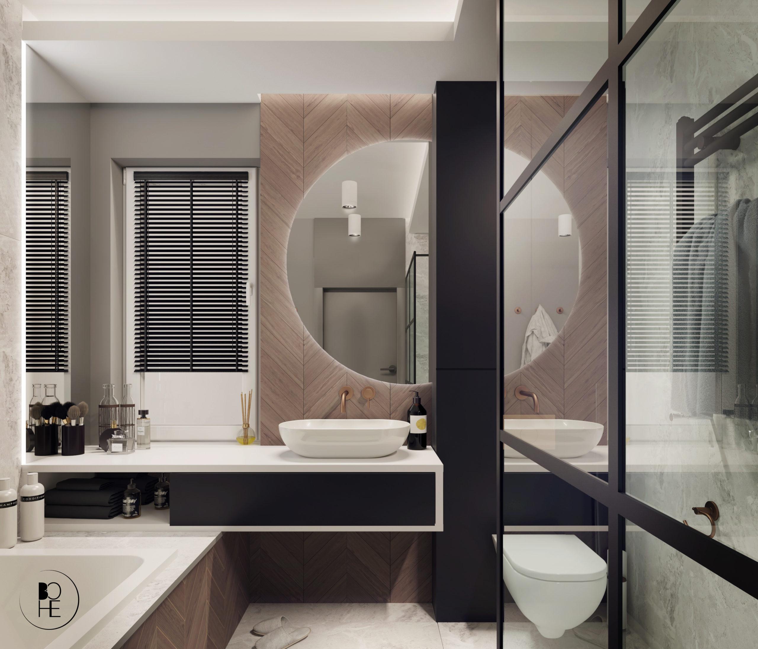 Architekt Białystok Projekt łazienki z okrągłym lustrem, prysznicem i wanną Anna Skowronska Bohe Architektura