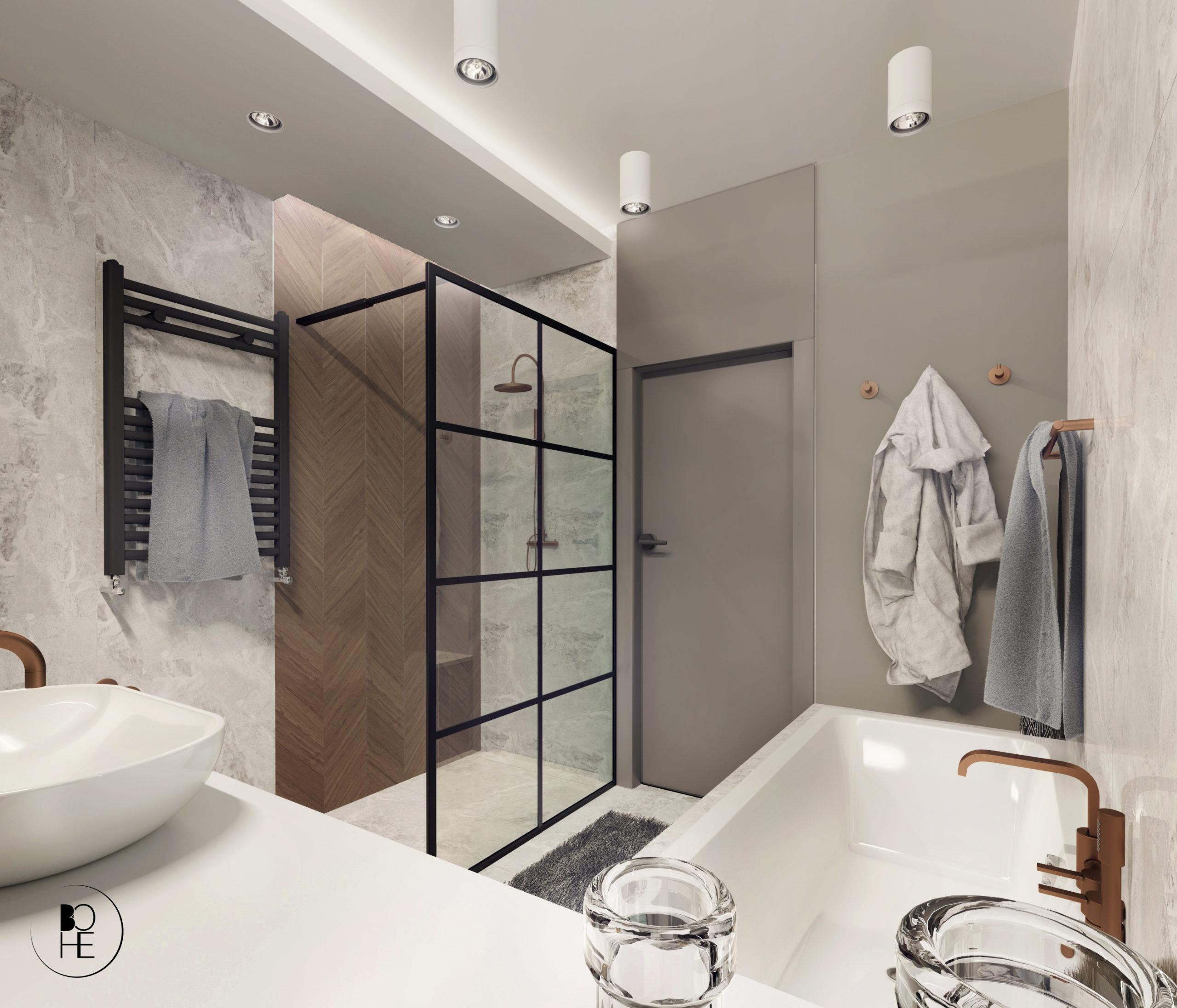 architekt Bialystok Skowronska Anna Projekt jasnej toalety z płytkami firmy Paradyż i armaturą GROHE Brushed sunset