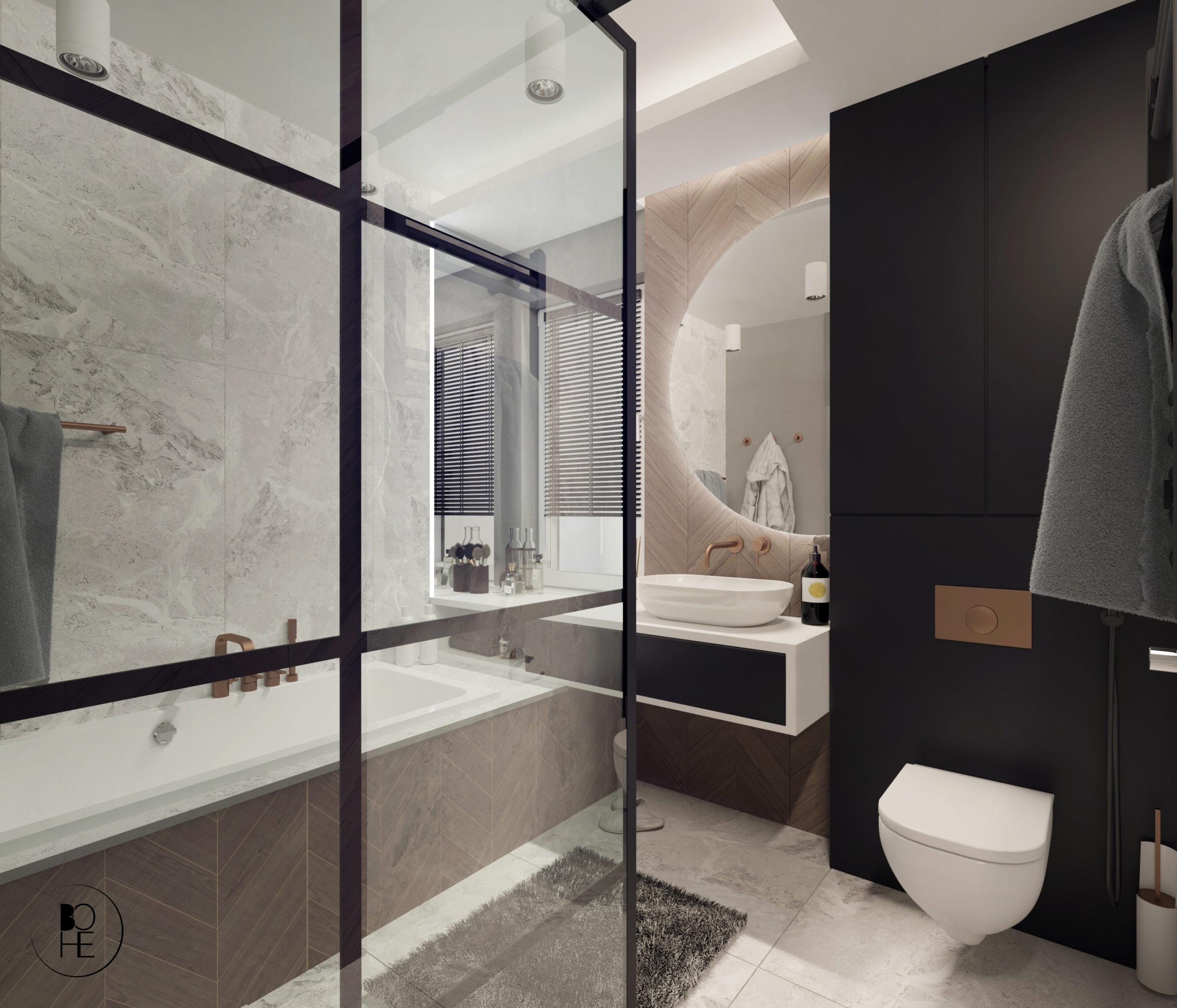 Projekt małej łazienki z prysznicem. Płytki firmy Paradyż, armatura GROHE Brushed sunset architekt Anna Skowrońska Białystok