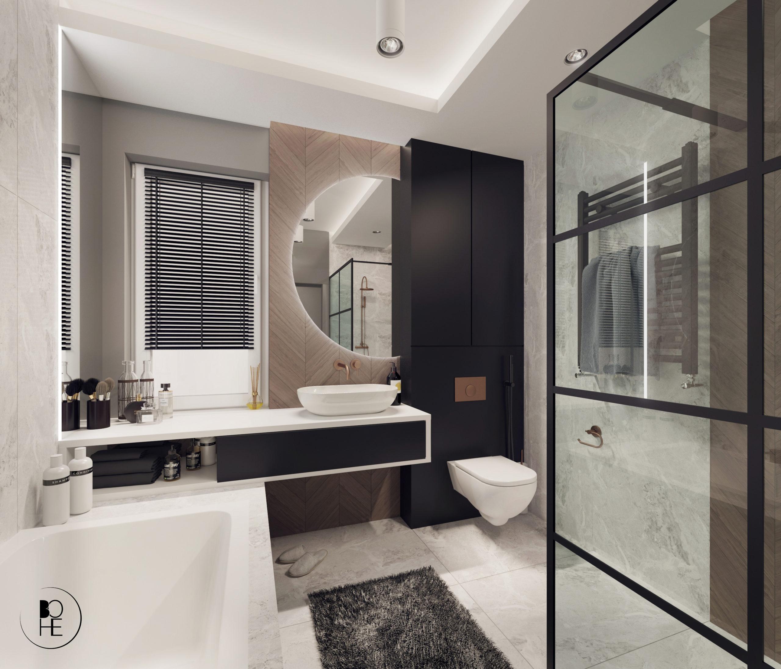 Projekt łazienki z płytkami firmy paradyż z wanną i prysznicem architekt wnętrz Anna Skowrońska Bialystok