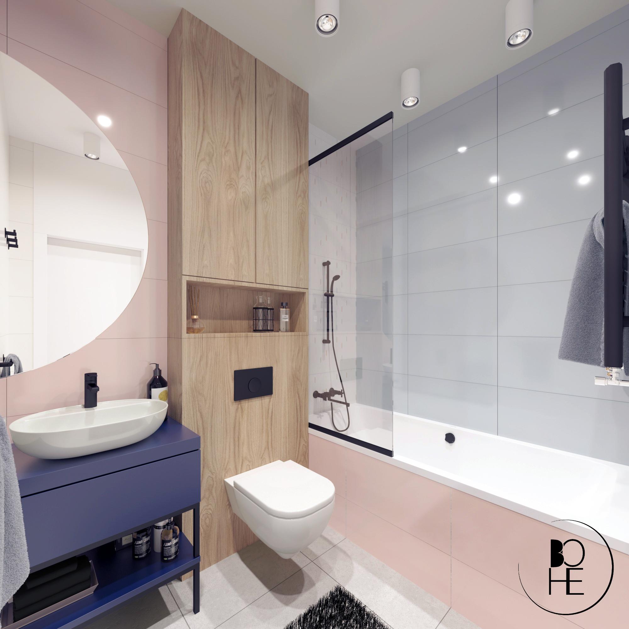 projekt wnętrz łazienki dziecięcej w domu jednorodzinnym w warszawie