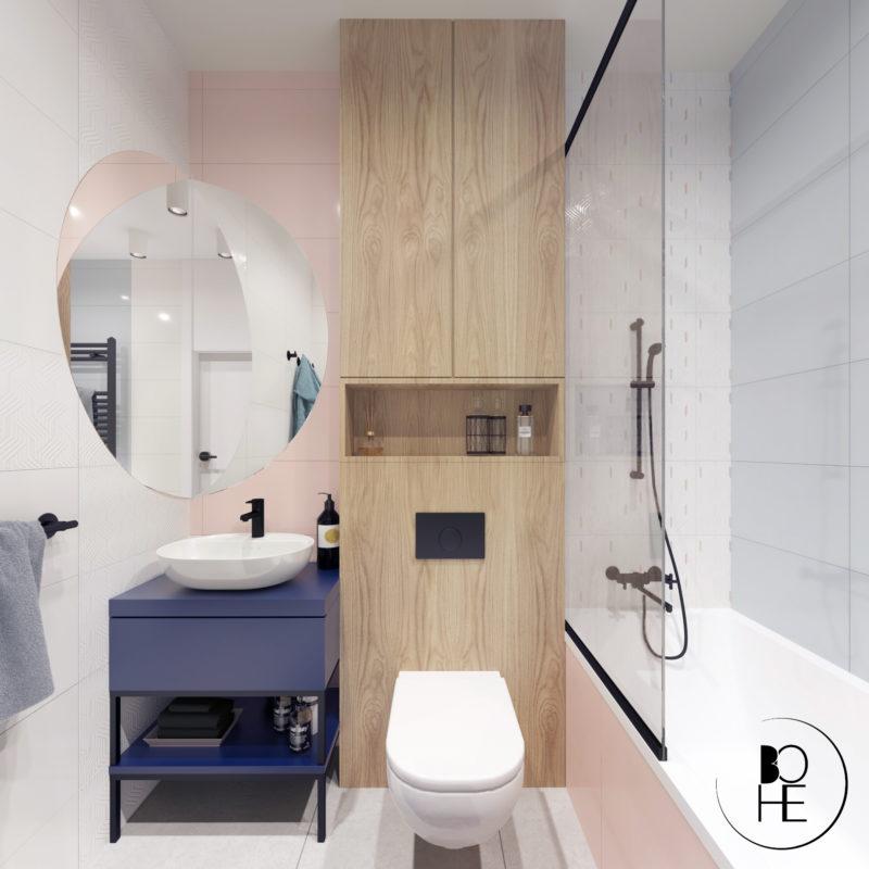 projekt wnętrza łazienki dla dzieci w domu jednorodzinnym w warszawie