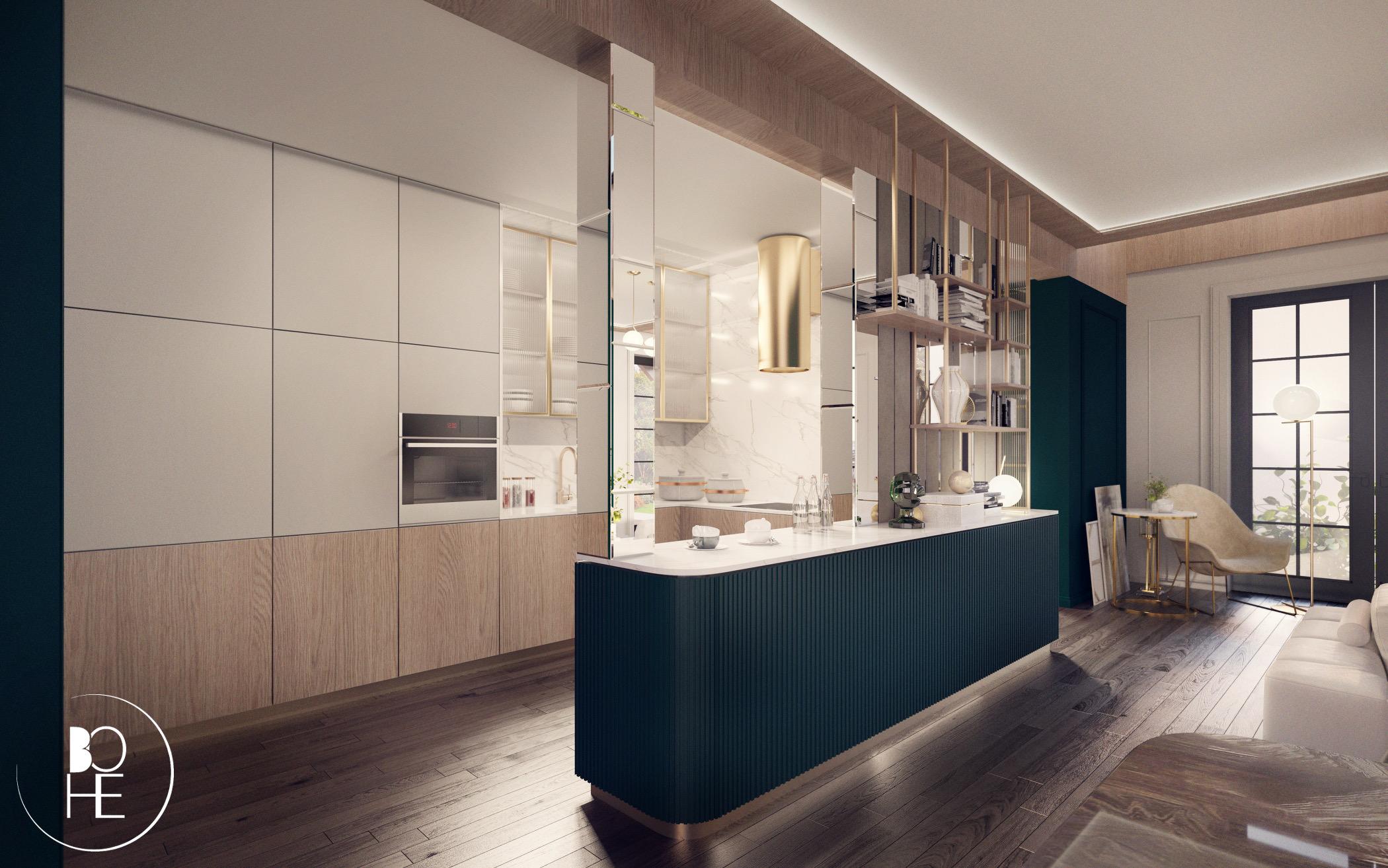 projekt wnętrza otwartej kuchni domu styl glamour szklany stół zieleń warszawa architekt anna skowrońska białystok