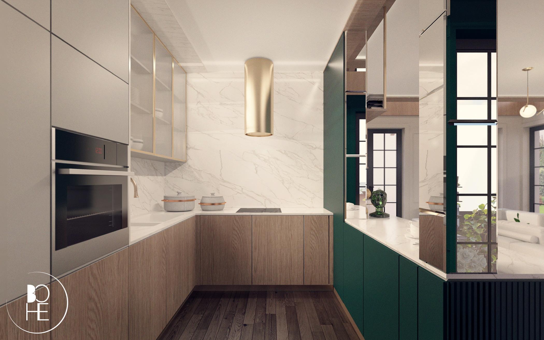 projekt wnętrza zielonej kuchni domu styl nowoczesny złoty okap marmur warszawa architekt anna skowrońska Białystok