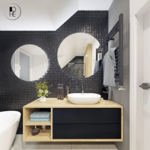 Łazienka z okrągłym lustrem architekt Warszawa