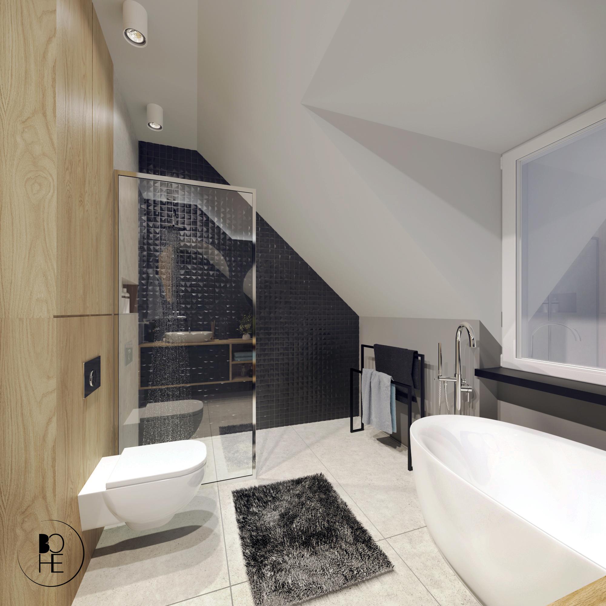 Projekt łazienki na poddaszu z wanną i prysznicem