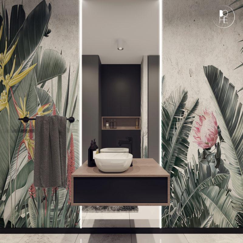 projekt toalety z tapetą z motywem roślinnym architekt Białystok