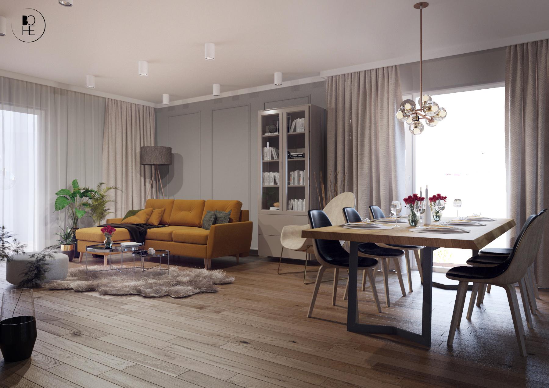 architekt Białystok projekt salonu z jadalnia z dużym stołem