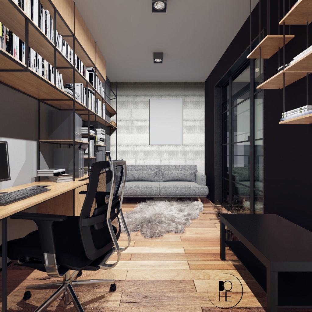 architekt wnętrz Białystok projekt gabinetu w klimacie industrialnym