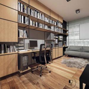 architekt wnętrz Białystok projekt gabinetu drewno i beton architektoniczny