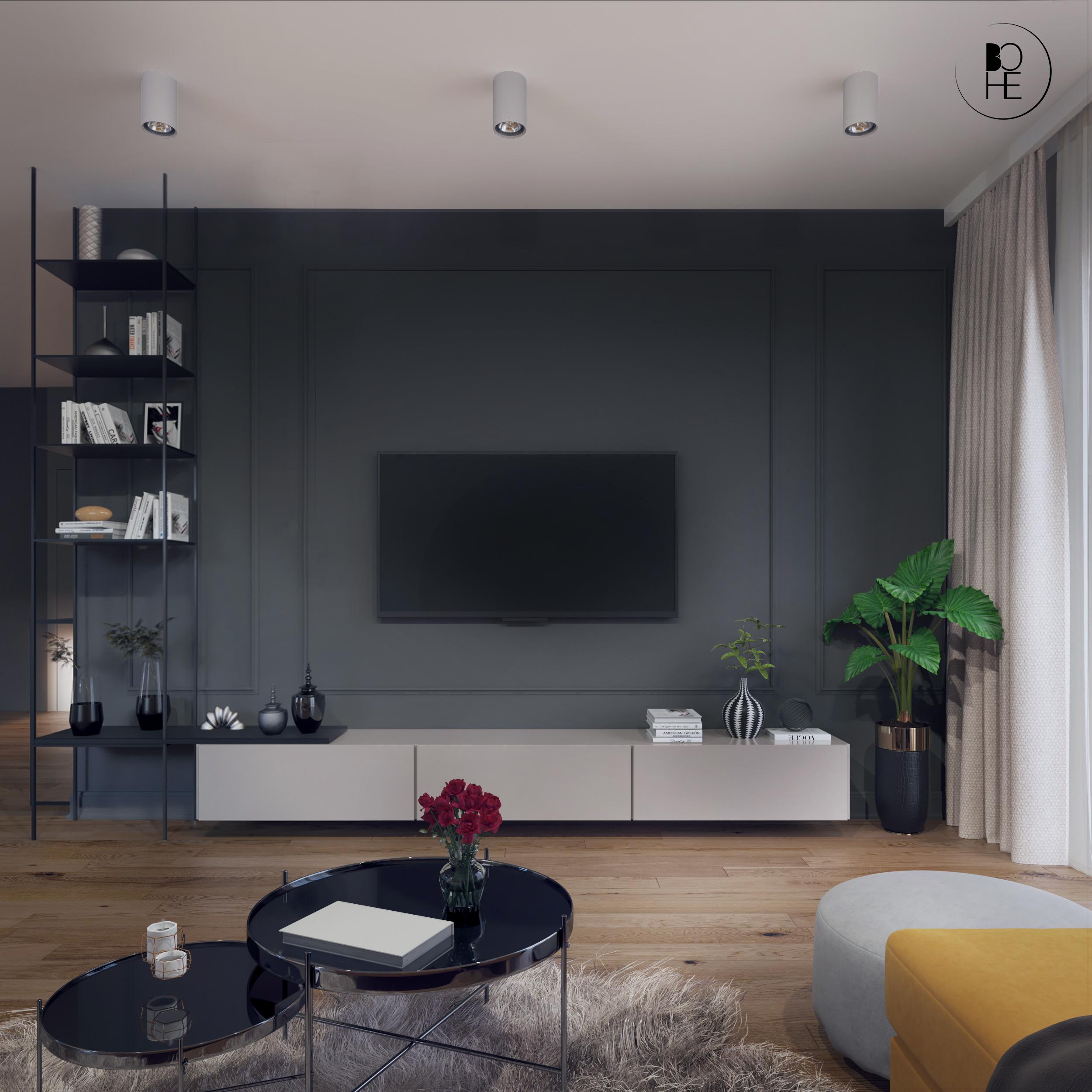 architekt wnętrz Białystok projekt salonu ścianka z telewizorem
