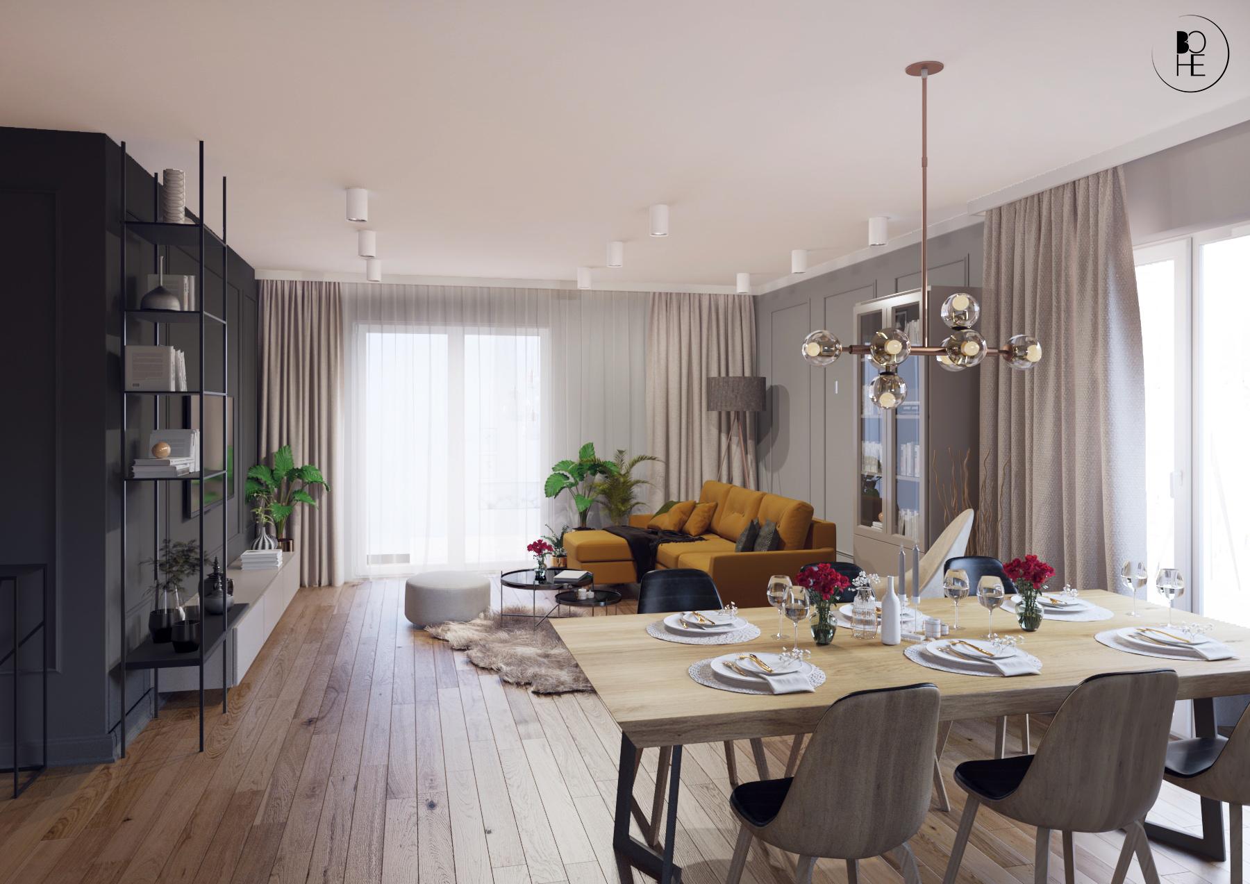 projekt salonu z jadalnia w domu jednorodzinnym w Białymstoku architekt bohe