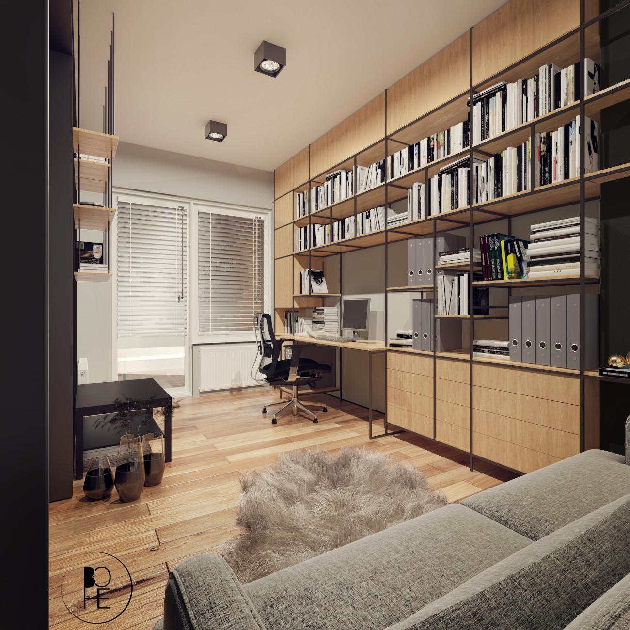 Projektant wnętrz Białystok nowoczesny gabinet w stylu soft loft