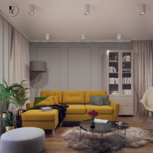 projektant wnętrz nowoczesny salon z kanapą w domu w Białymstoku