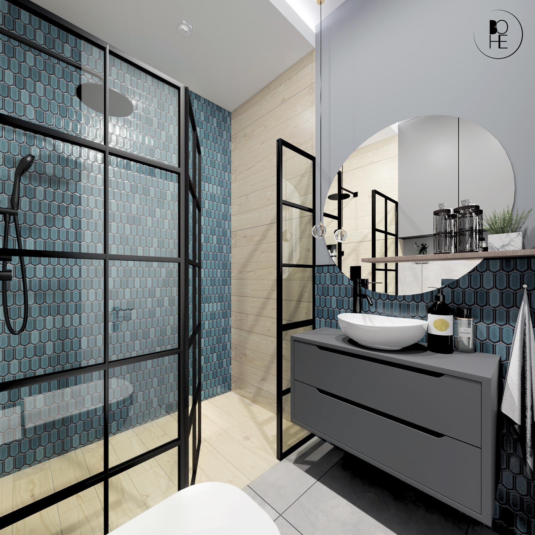 architekt białystok aranżacja łazienki z prysznicem i turkusową mozaiką