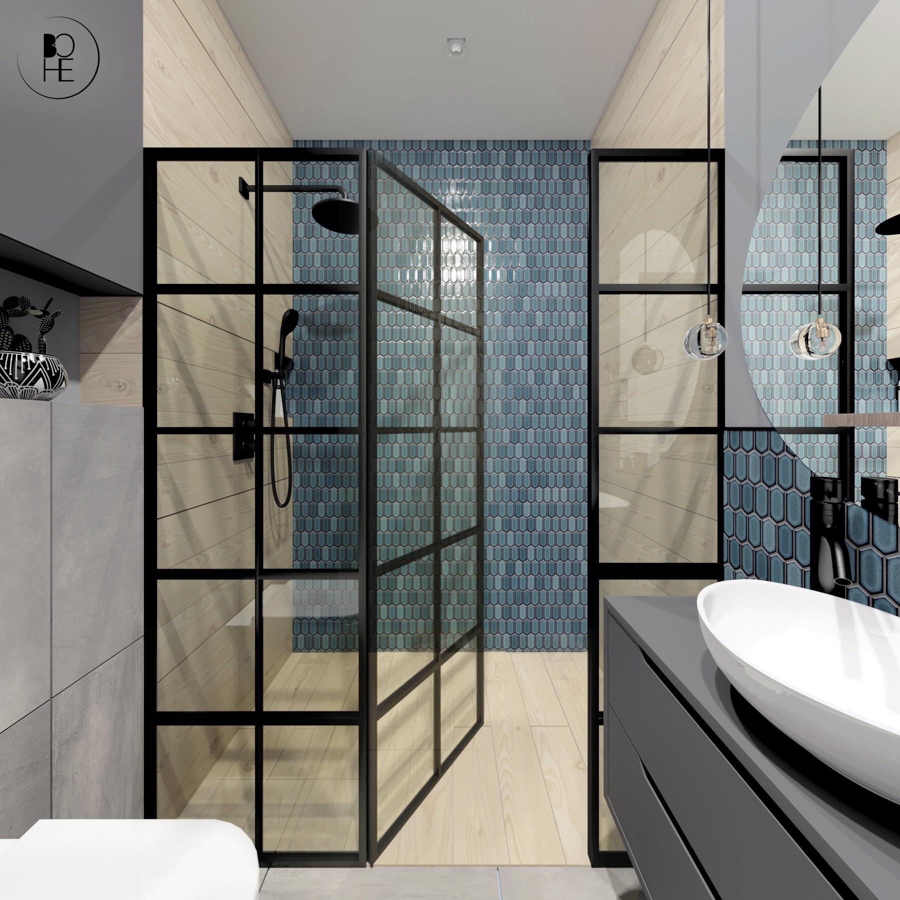 architekt Białystok projekt łazienki z prysznicem i morską mozaiką