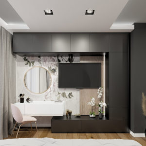 architekt Białystok projekt sypialni z tapetą w kwiaty bohe architektura