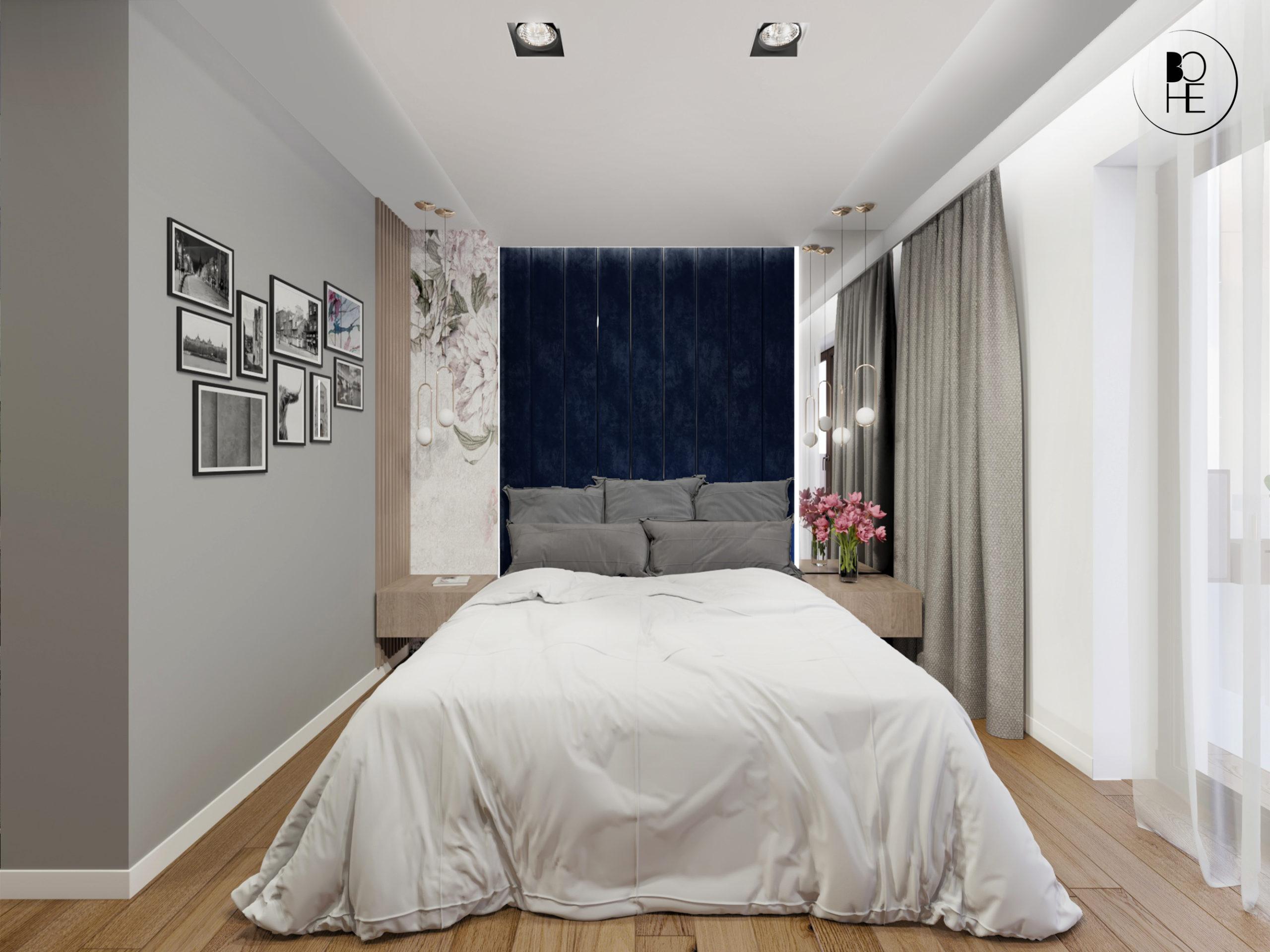architekt Białystok projekt wnętrza sypialni małżeńskiej z dużym łóżkiem