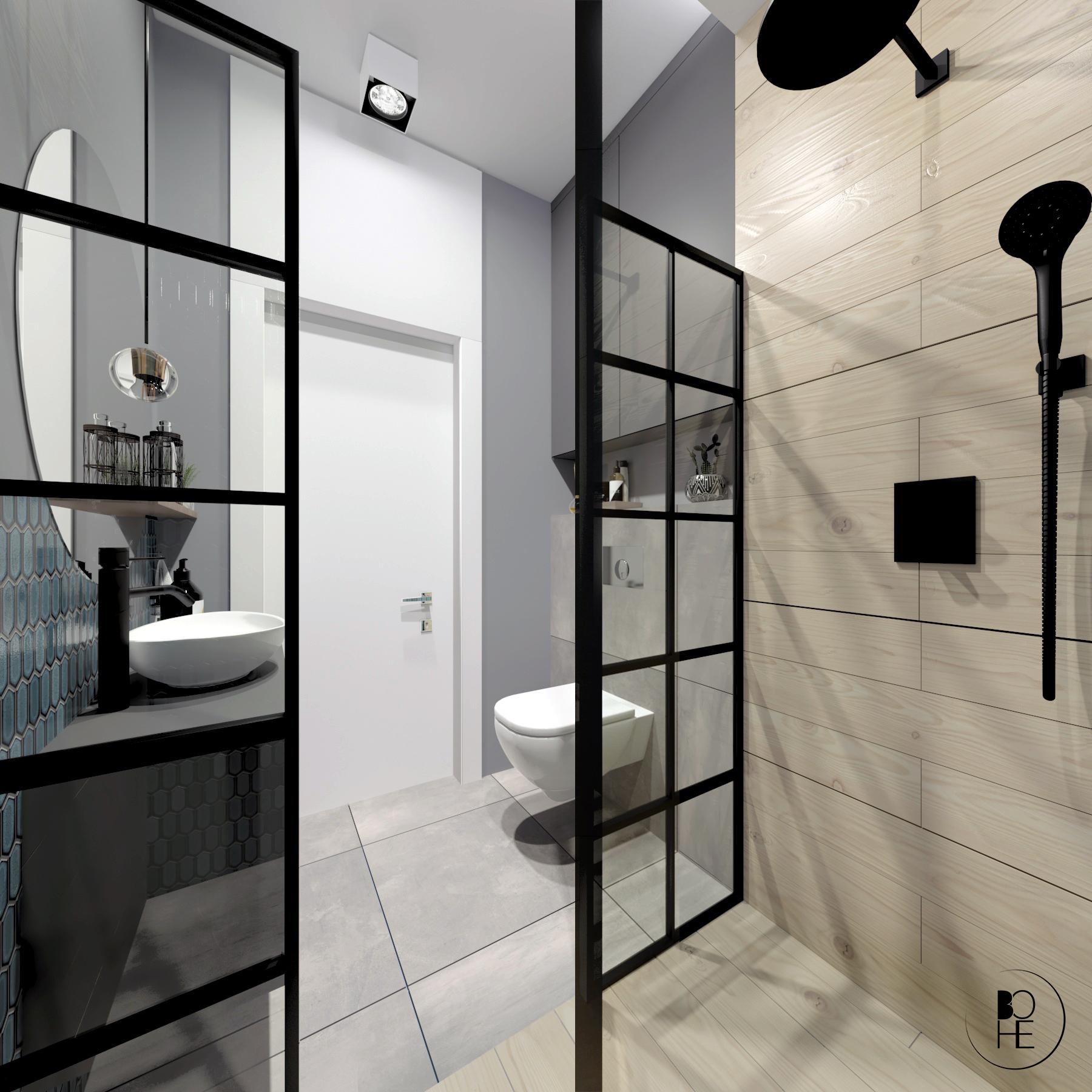 architekt wnętrz Białystok aranżacja łazienki z prysznicem z płytkami drewnopodobnymi