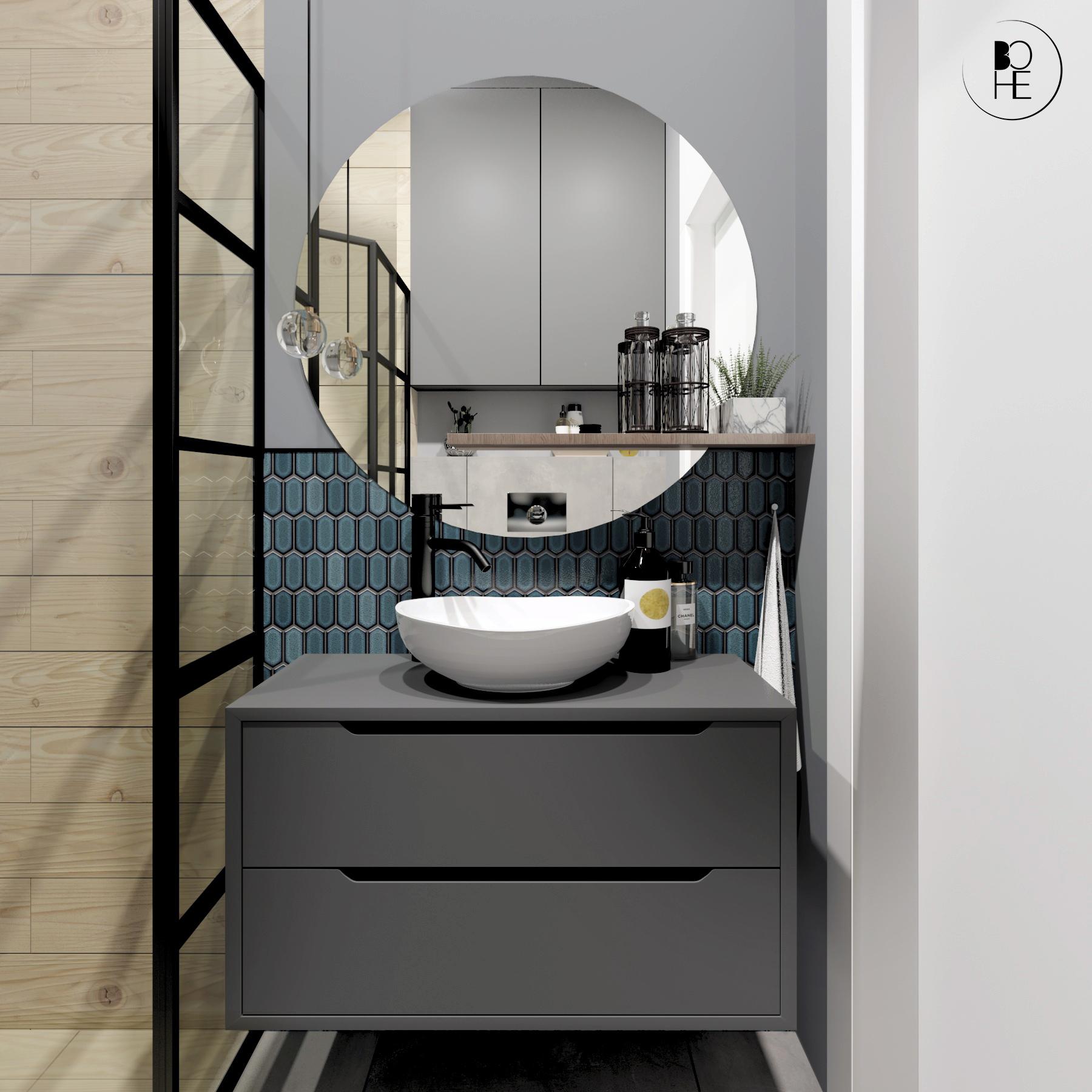 architekt wnętrz Białystok aranżacja łazienki z okrągłym lustrem i turkusową mozaiką