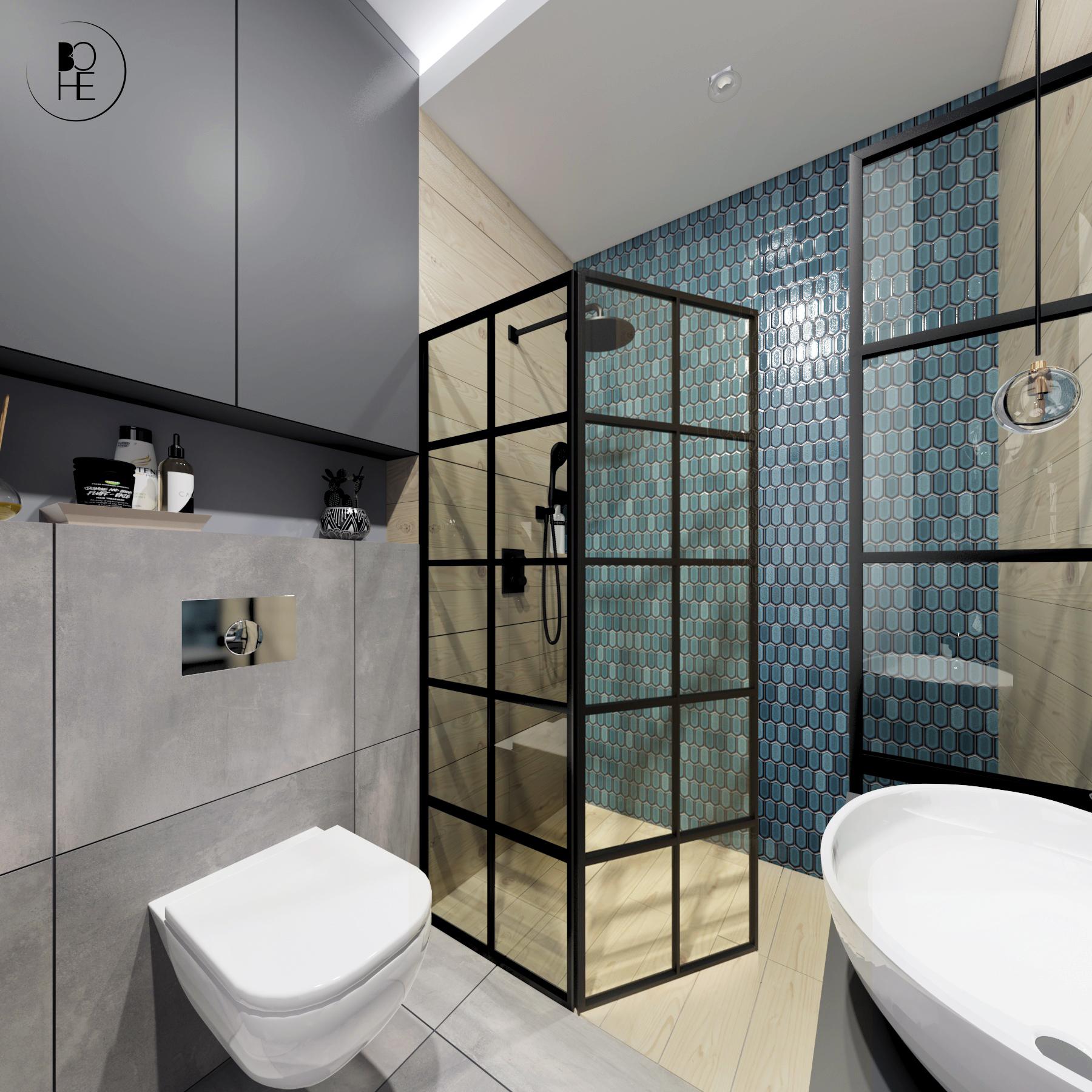 architekt wnętrz Białystok projekt łazienki z toaleta prysznicem i turkusową mozaiką